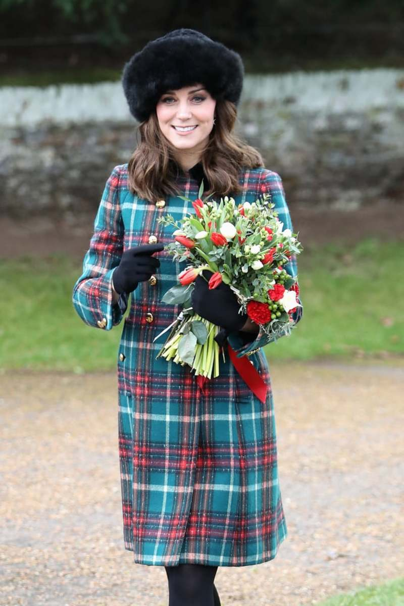 Kate-Middleton-Miu-Miu-Plaid-Coat-Christmas-Service-2017