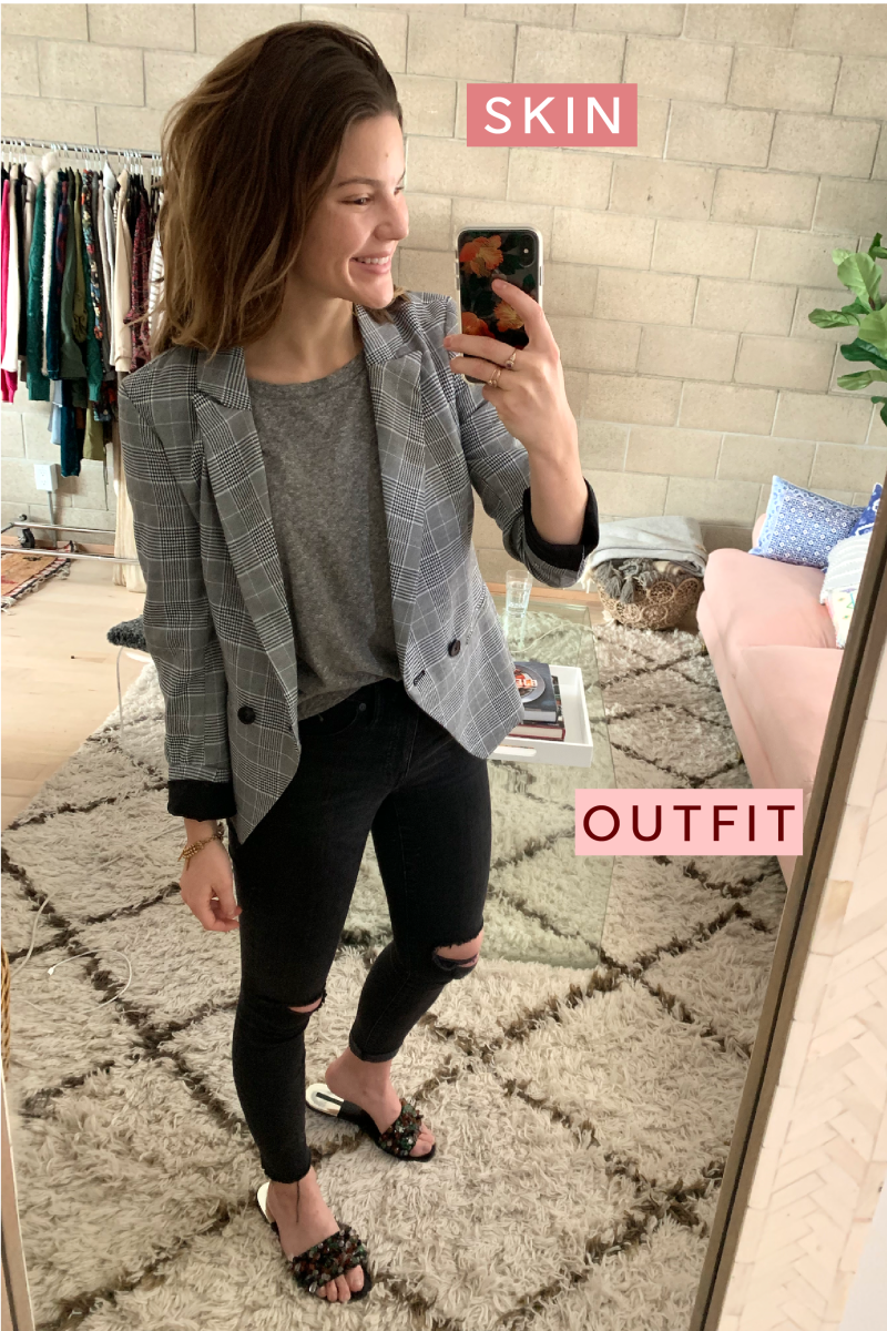 Cupcakes and Cashmere Blazer, Madewell Shirt, Madewell Denim, Zara Slides (similar here)