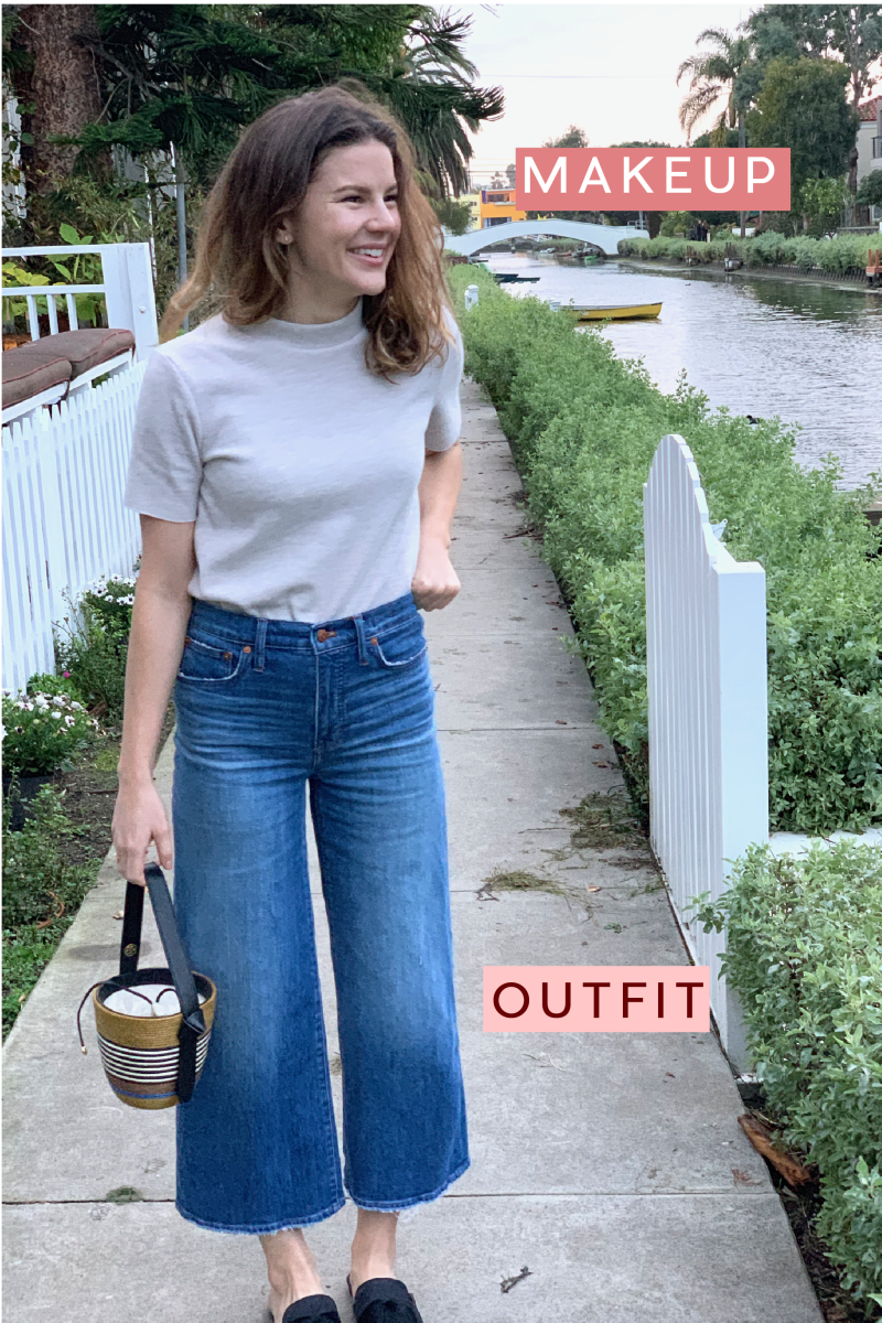 Zara Top, Madewell Denim, Cape Robbin Mules, Cesta Collective Bucket Bag