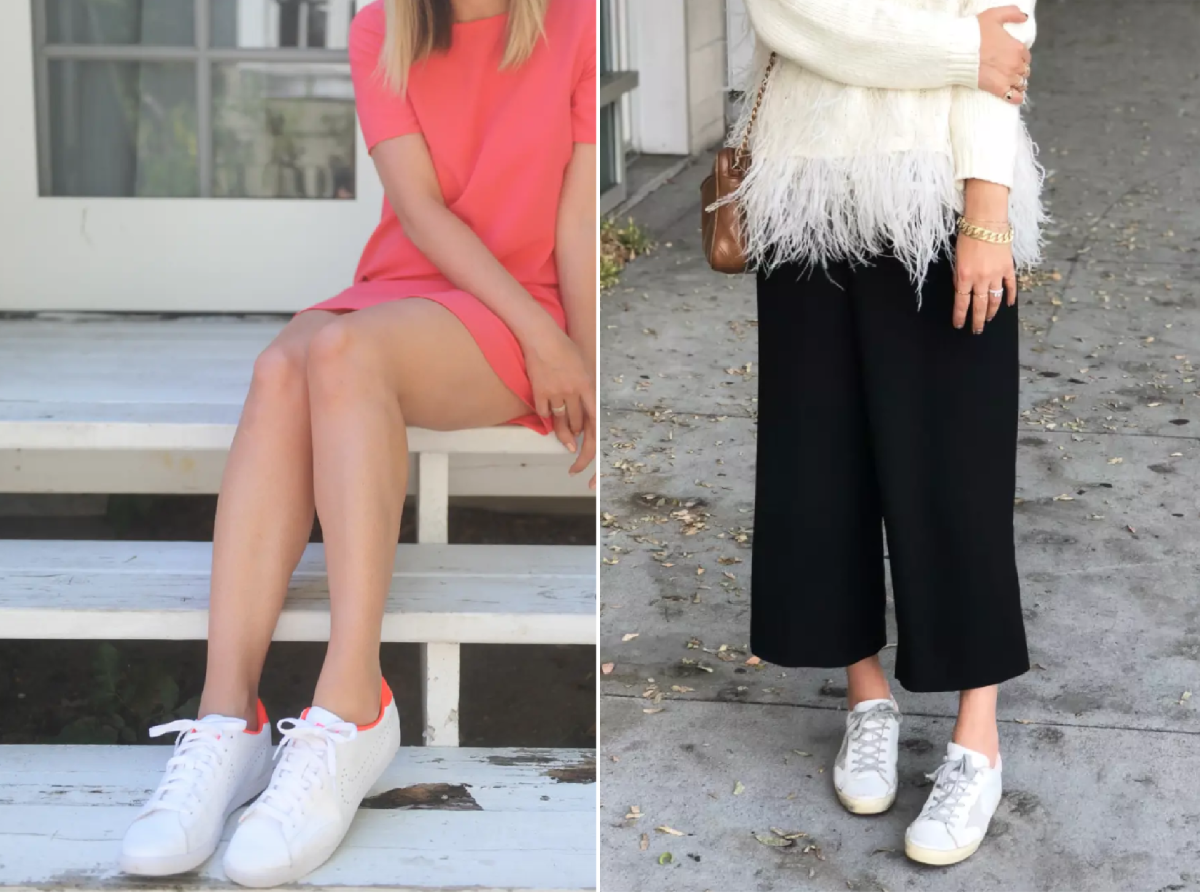 Left (save): Nike (similar here); Right (splurge): Golden Goose