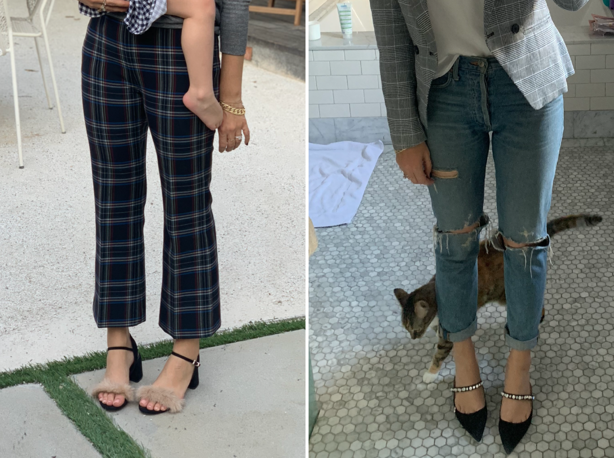 Left (save): Zara (similar here); Right (splurge): Prada