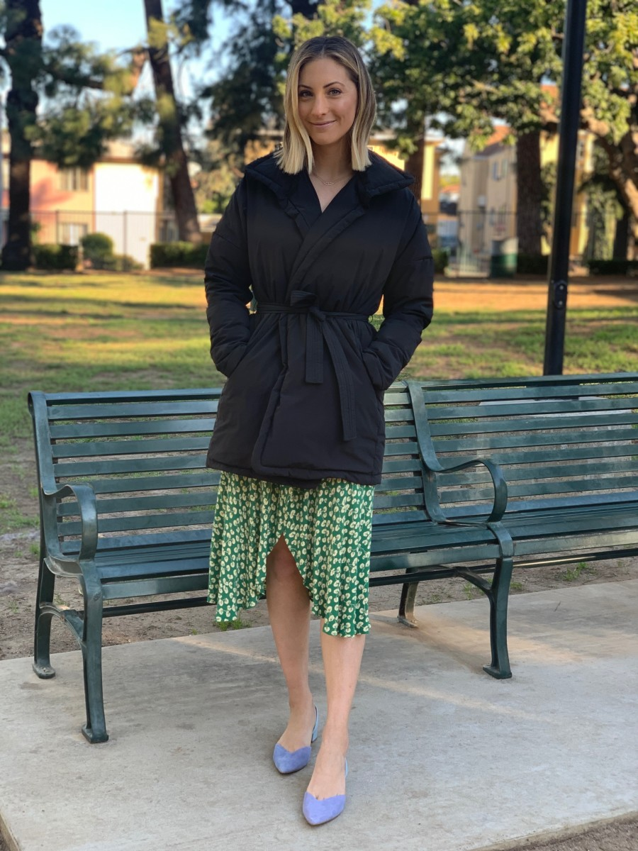 Friday (shooting for our upcoming shoe launch): James Perse Puffer (similar here), Ganni Dress (similar here and here), Cupcakes and Cashmere shoes (coming soon!)
