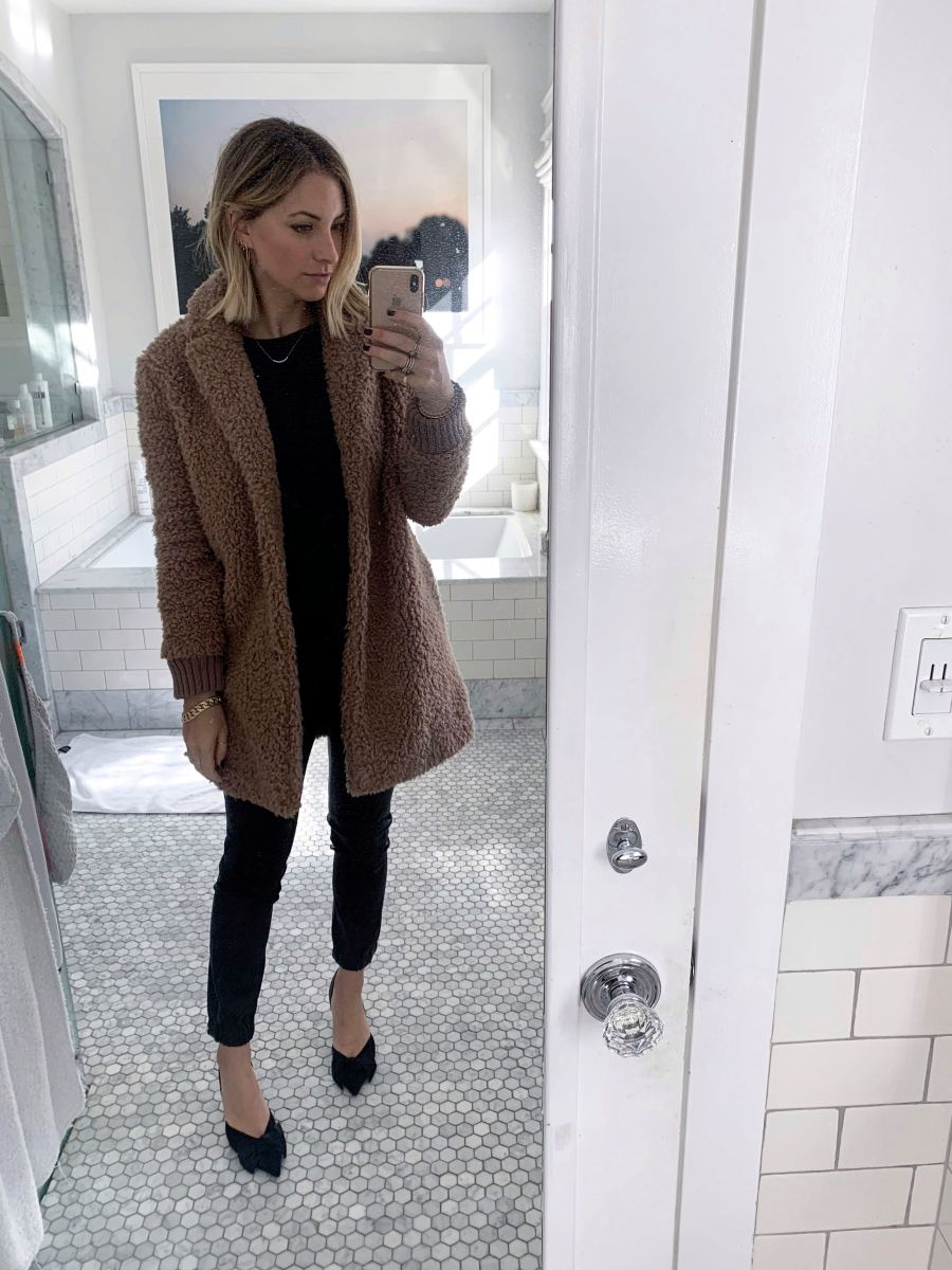 Monday: Cupcakes and Cashmere Coat (similar here), Cupcakes and Cashmere Shirt (similar here), Halston Leather Leggings, Zara Pumps (similar here)