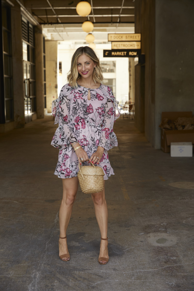 Cupcakes and Cashmere Dress, Doen bag (similar here), Manolo Blahnik Heels (similar here)
