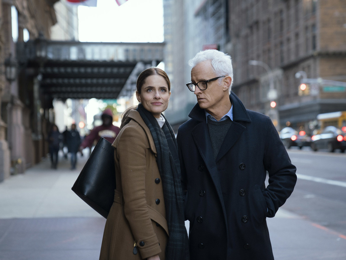 That sleek back bag! The coat! The cashmere turtleneck expertly layered under a weather-appropriate scarf! (Amanda Peet in 'The Romanoffs')