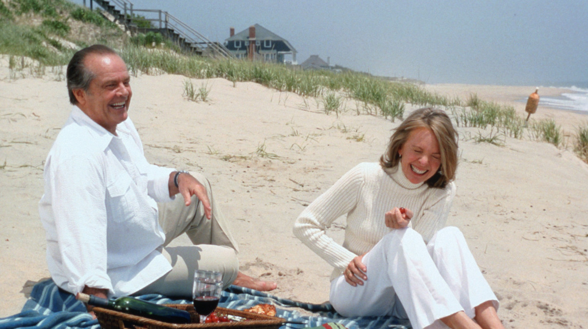 I only pick up white rocks, and wish I could wear white without spilling red wine on it—all because of this scene. (Diane Keaton in 'Something's Gotta Give')