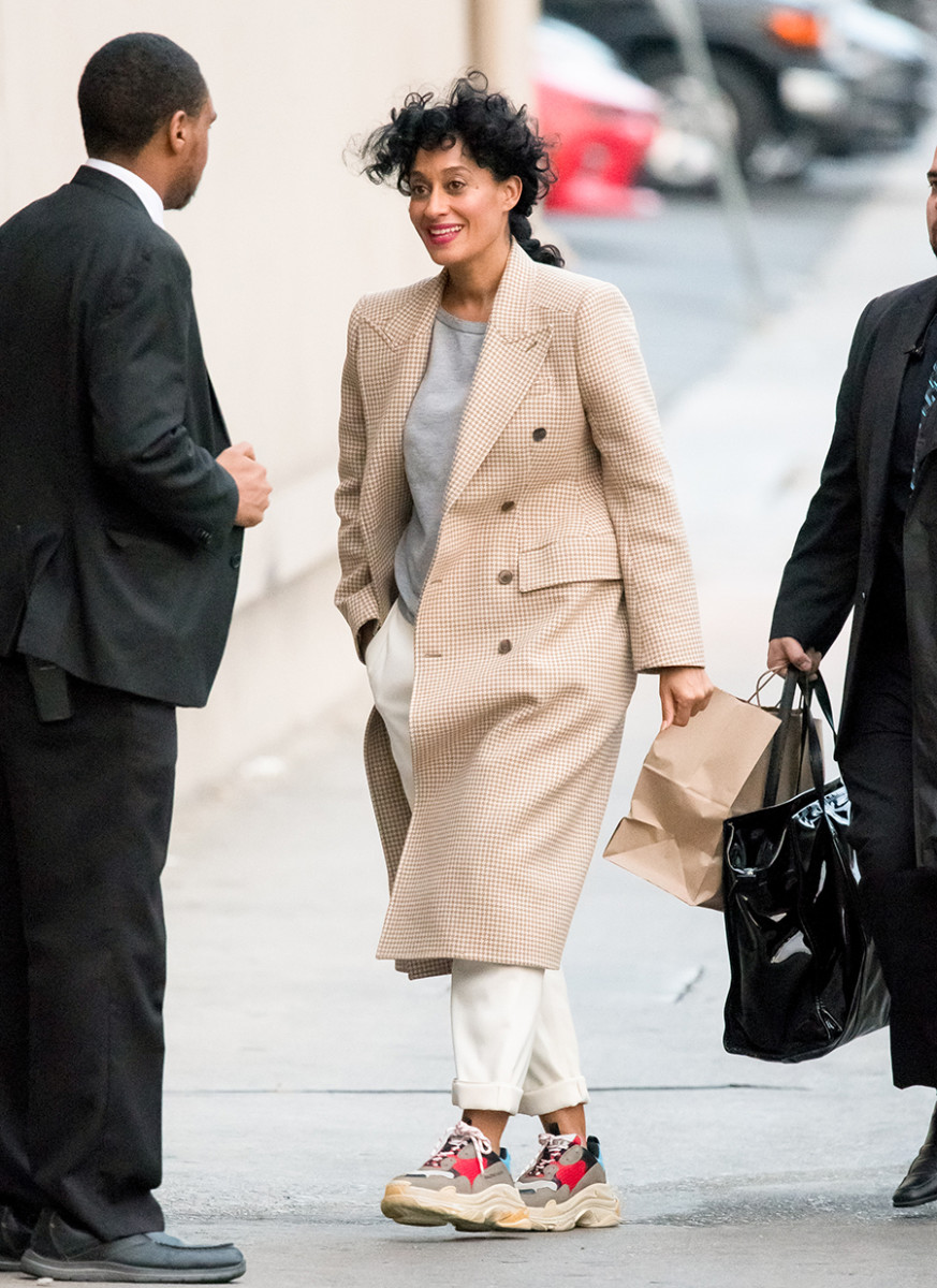 This photo single-handedly inspired me to purchase white slacks and sneakers. (Tracee Ellis Ross)