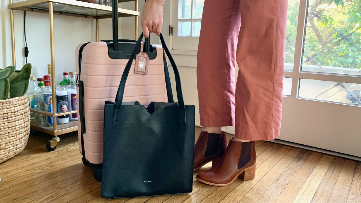 Pixie Mood Tote, Away Carry-On in 'Blush', Nisolo Boots, &OtherStories Pants