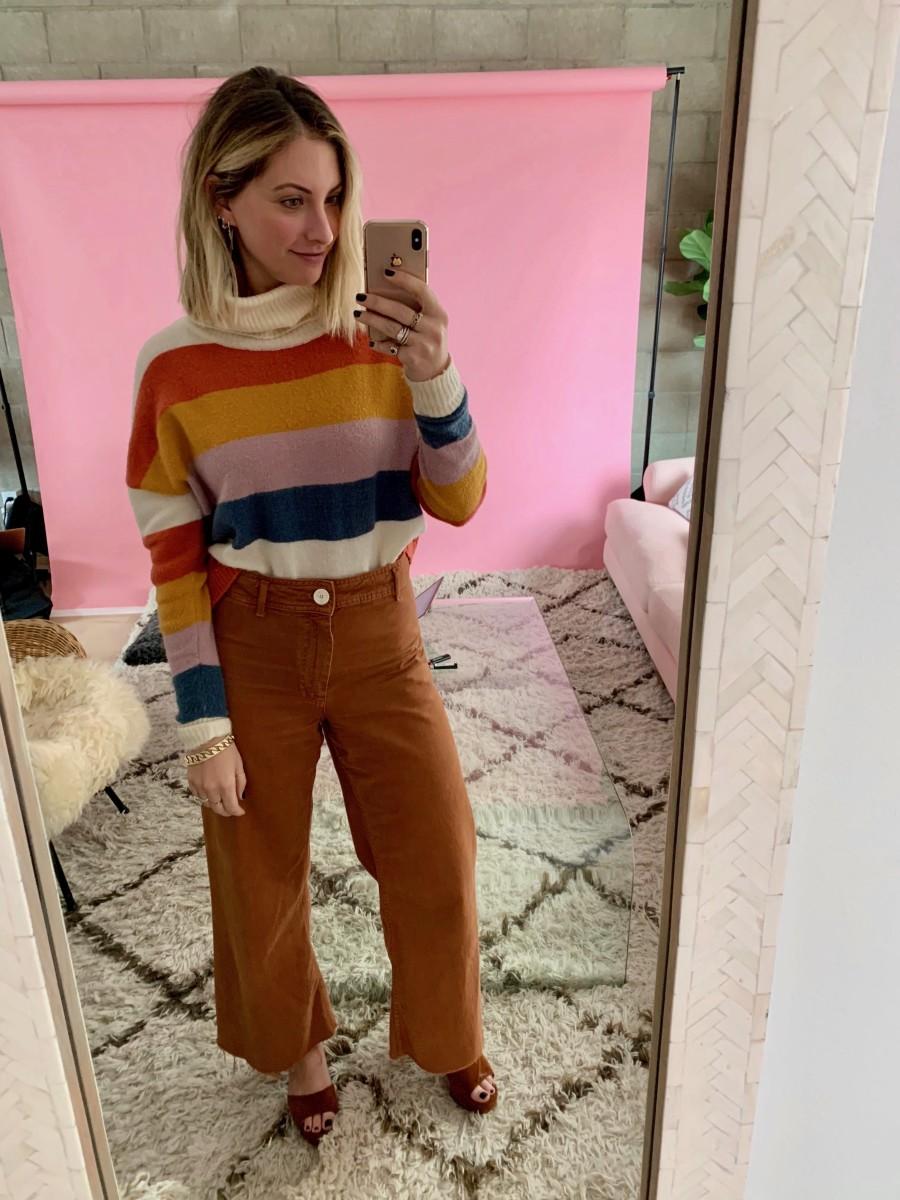 Monday: Mink Pink Sweater, Zara Pants (similar versionhere), Miu Miu Platforms (similar versionhere)