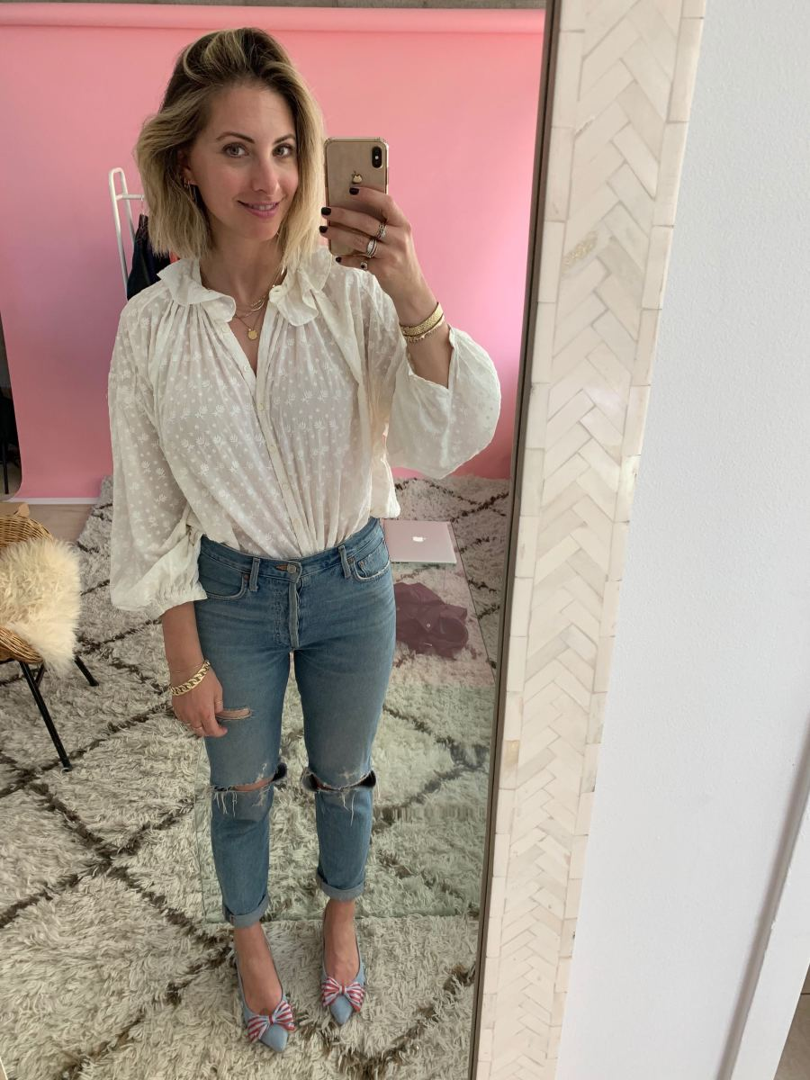 Monday: Doen Top, AGOLDE Jeans, Cupcakes and Cashmere Shoes