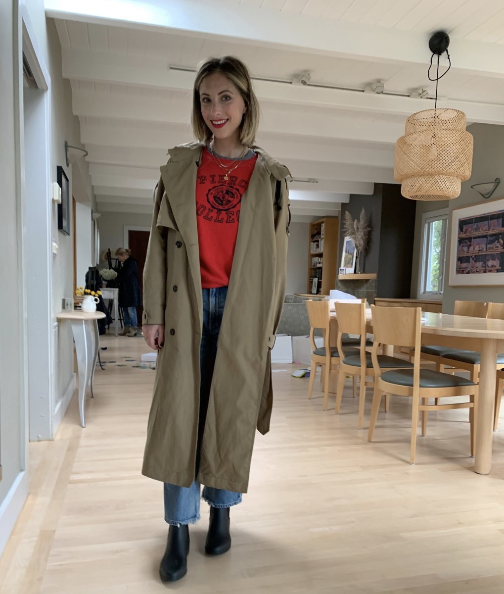 Friday: Zara Trench (similar here), Vintage Sweatshirt, Citizens of Humanity Jeans, Sam Edelman Rain Boots, Laura Mercier Clique Lipstick