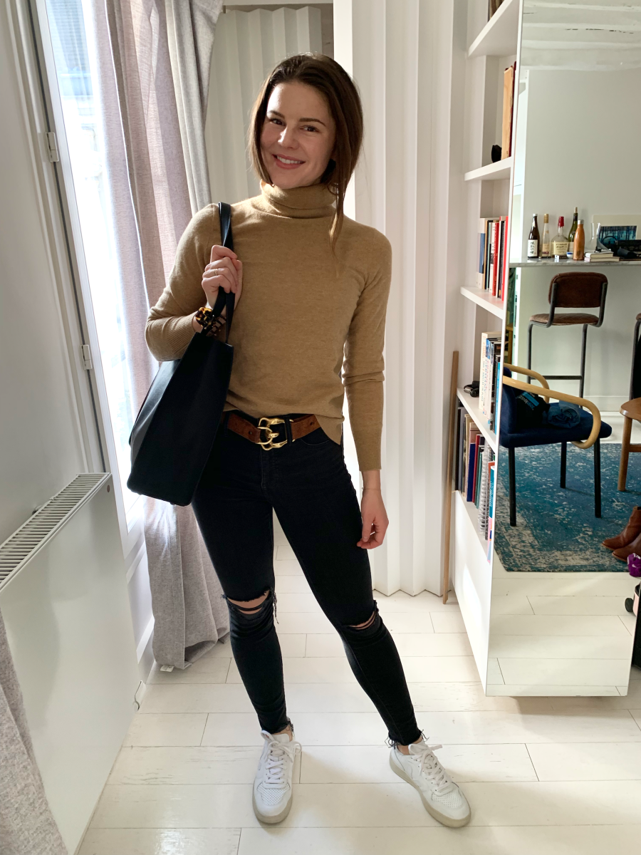 Pixie Mood Tote, J.Crew Turtleneck, J.Crew Hairclip (on tote), vintage Ralph Lauren Belt, Madewell Denim, Vejas Sneakers