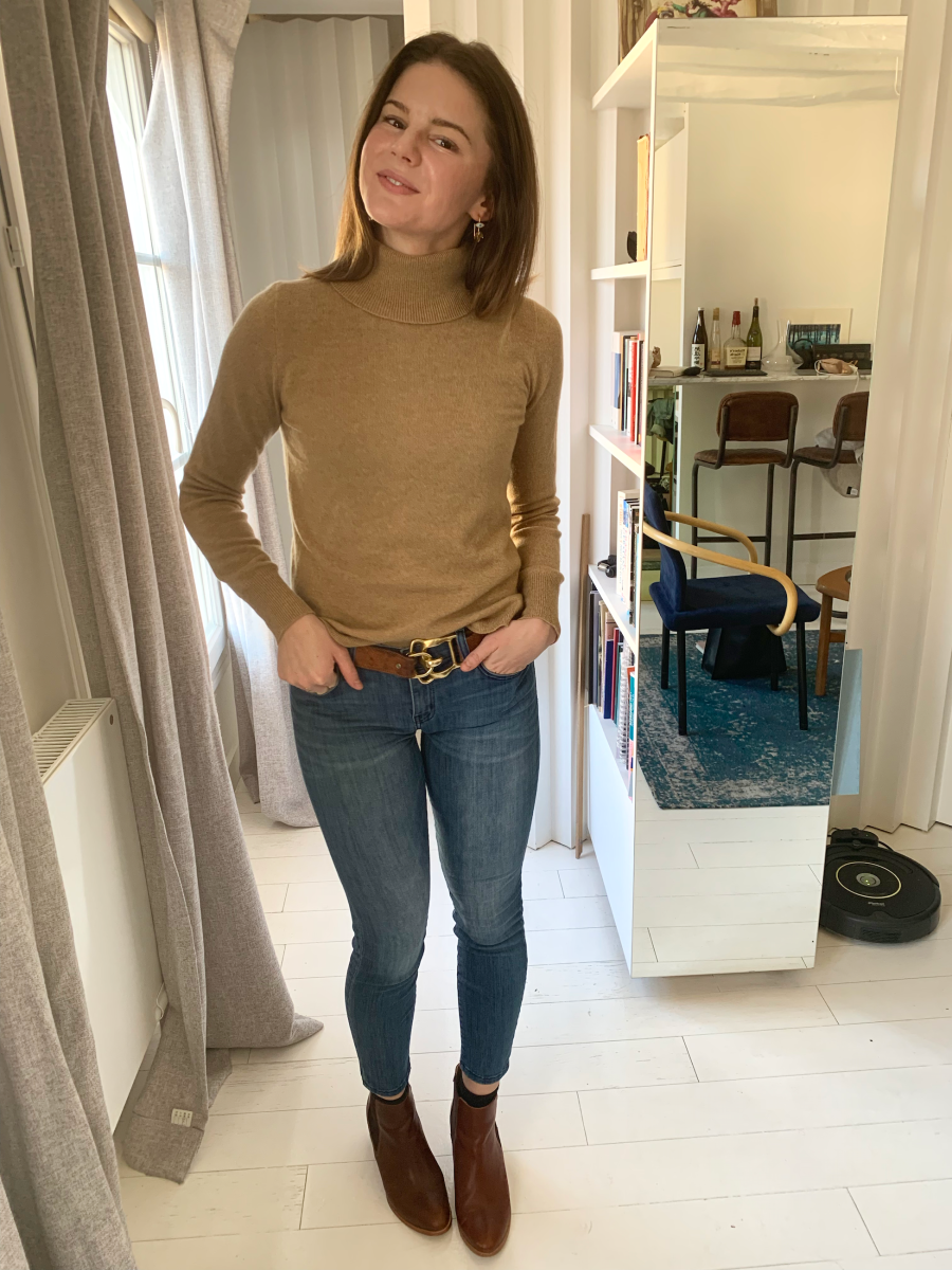 J.Crew Turtleneck, vintage Ralph Lauren Belt, Current/Elliot Denim, Nisolo Boots