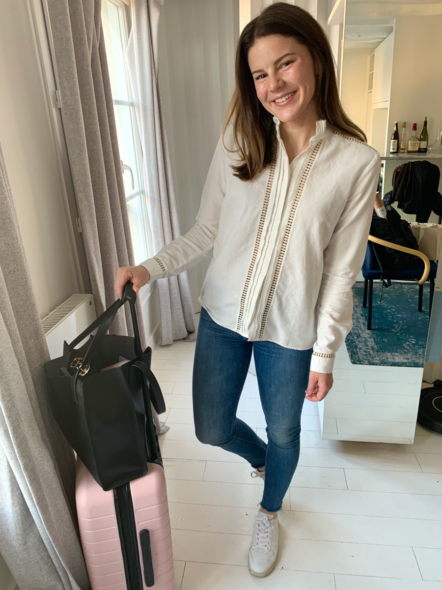 Sezane Blouse, MOTHER Denim, Vejas Sneakers, Pixie Mood Tote, Away Carry-On