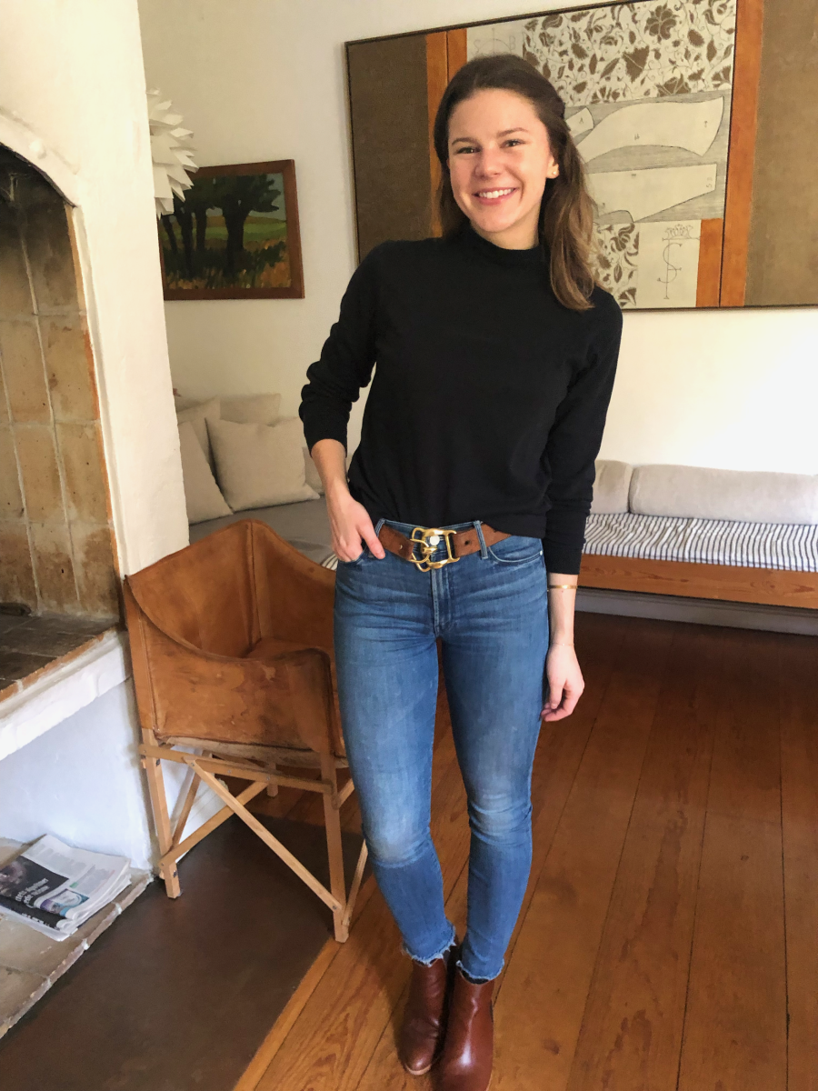 Land's End Turtleneck, vintage Ralph Lauren belt, MOTHER Denim, Nisolo Boots