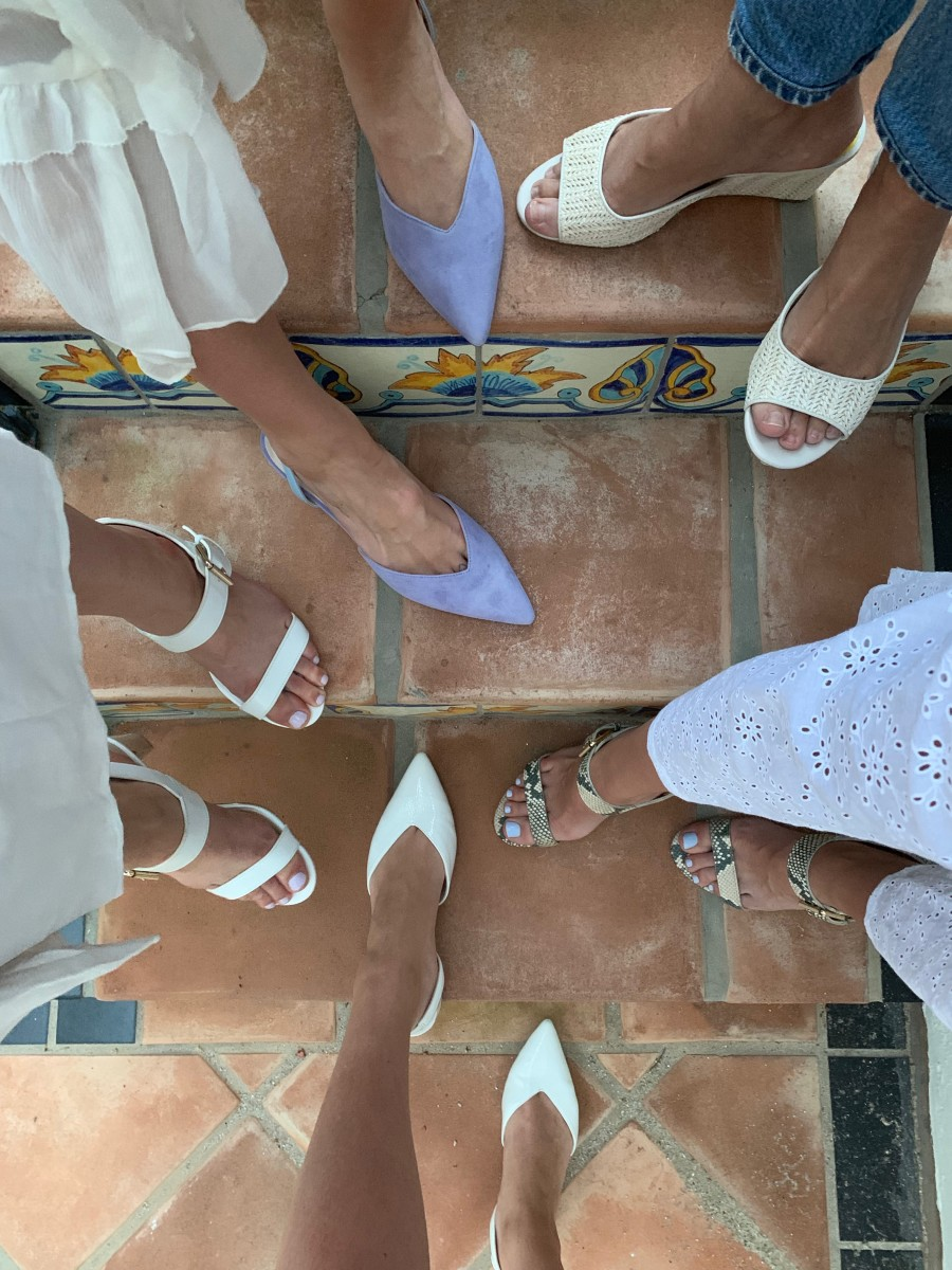 {Everyone in their Cupcakes and Cashmere shoes. Starting from the bottom white heels, clockwise: Gemmalyn Pump, Gisela Sandal in white, Laralee Pumps, Gwenna Wedges, Gisela Sandal in snake}
