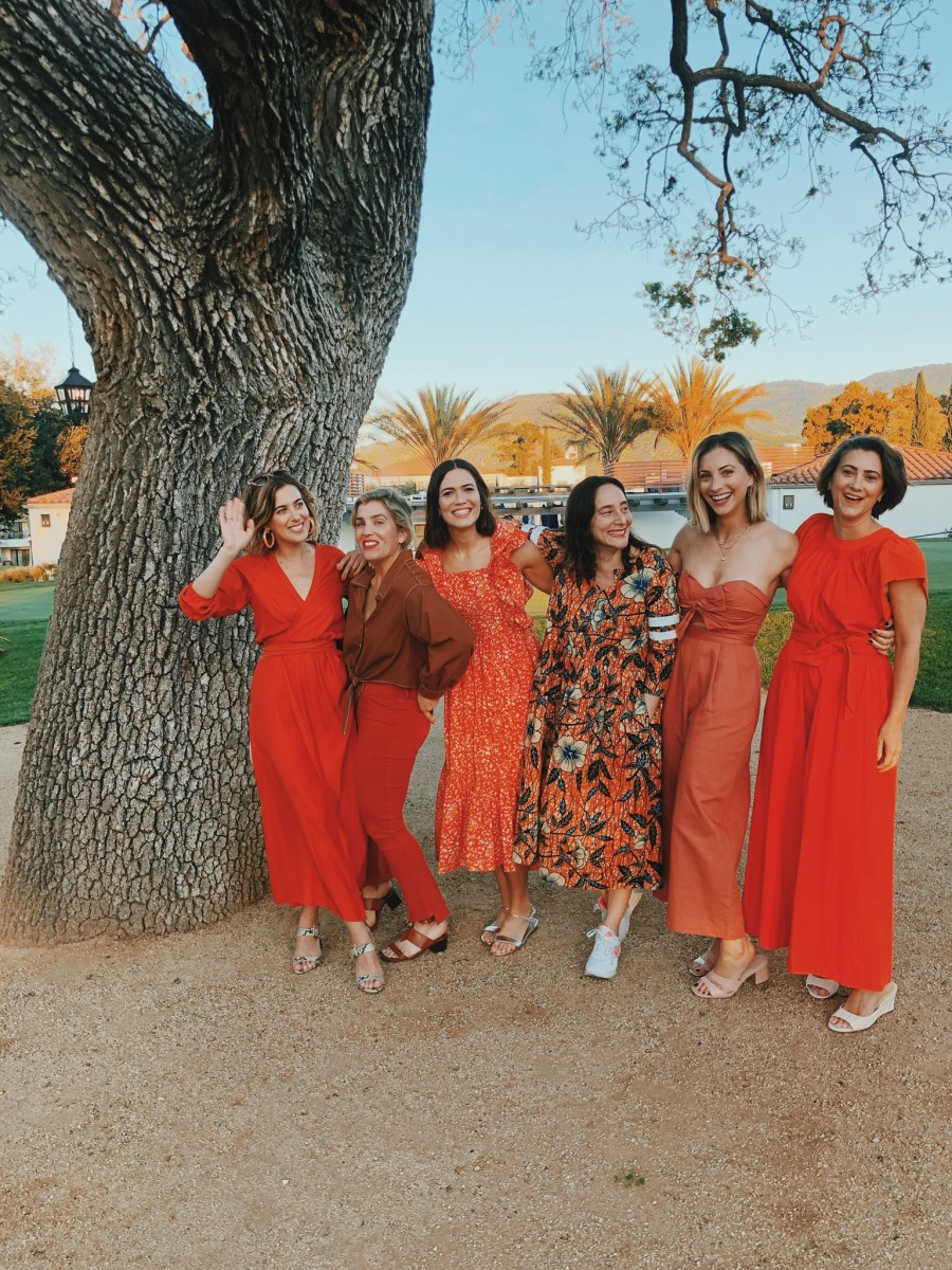 {Heading to dinner on our first night, in varying shades of orange. From L to R: Ashley, Cristina, Mandy, Raina, me, and Jenn. I'm in an ASTR jumpsuit and Cupcakes and Cashmere heels}