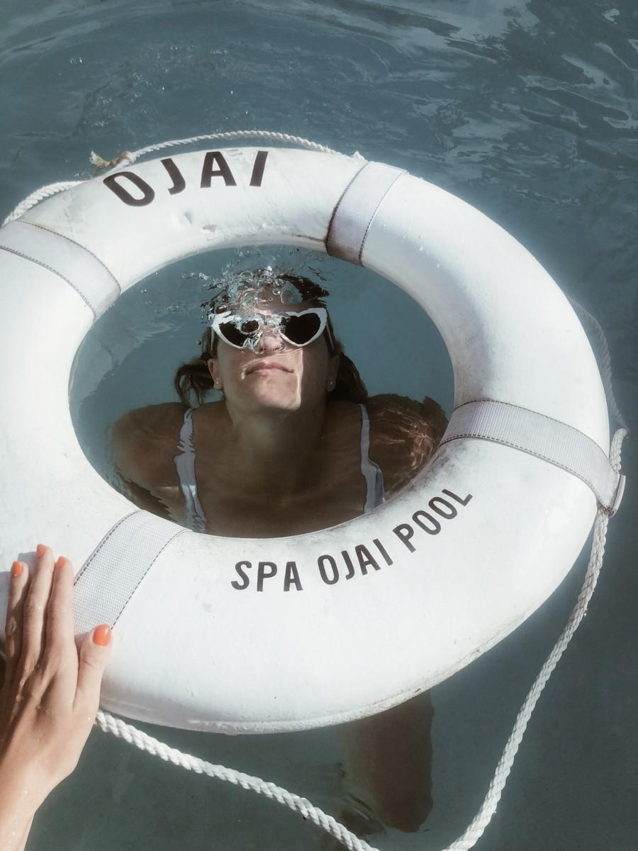 {Cristina in her natural habitat in the pool}