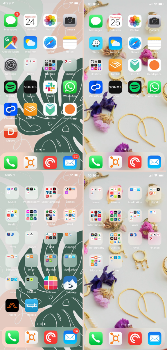 Leslie's home screen (left: before, right: after)