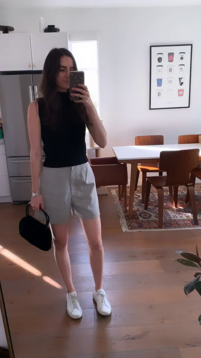 Starlet Sweater, Vintage Velvet Bag, East Order Shorts, Common Projects Sneakers