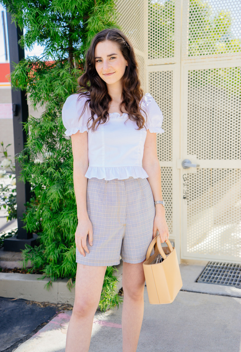 Staud Blouse (similar here), East Order Shorts, Staud Bag (similar here), Mari Giudicelli Mules (similar here)