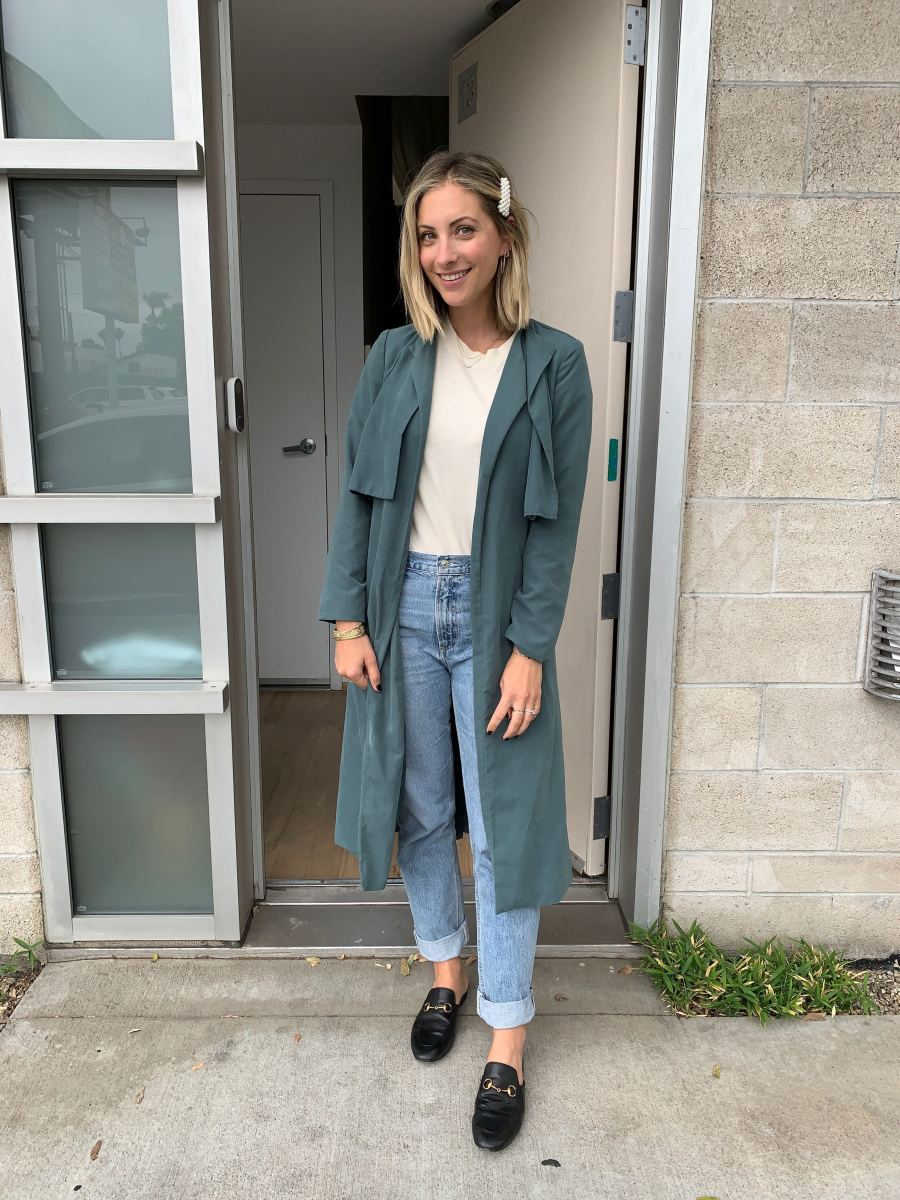 Wednesday: Cupcakes and Cashmere Jacket (similar here), The GREAT. Tee, AGOLDE Jeans, Gucci Slides (affordable version here)