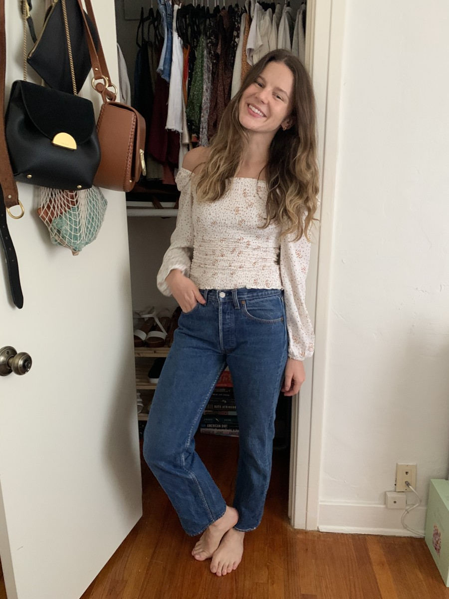 'Salma' Hoops, Cupcakes and Cashmere Smocked Blouse (on sale!), Vintage Levi's, the necklace I wear daily is by Victoria Cunningham and was a 16th birthday gift from my mom