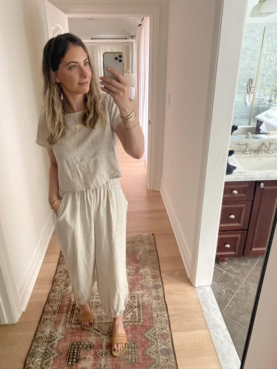 Rachel Pally Linen Top and Pants (gifted), Beatrice Valenzuela Slides