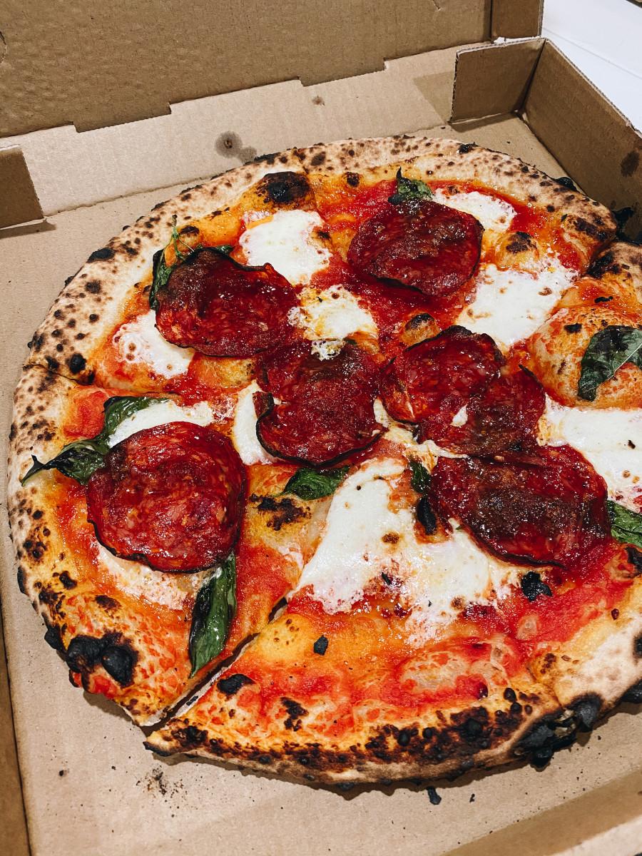 The Bee Sting, my favorite pizza in LA. Tomato sauce, mozzarella, soppressata, basil, and honey.
