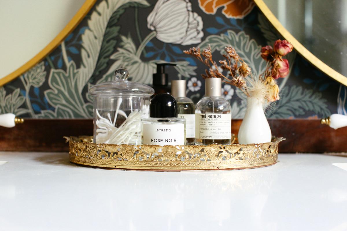 Vintage tray (similar here), CB2 vase, Zara Homeapothecary jar (similar here)