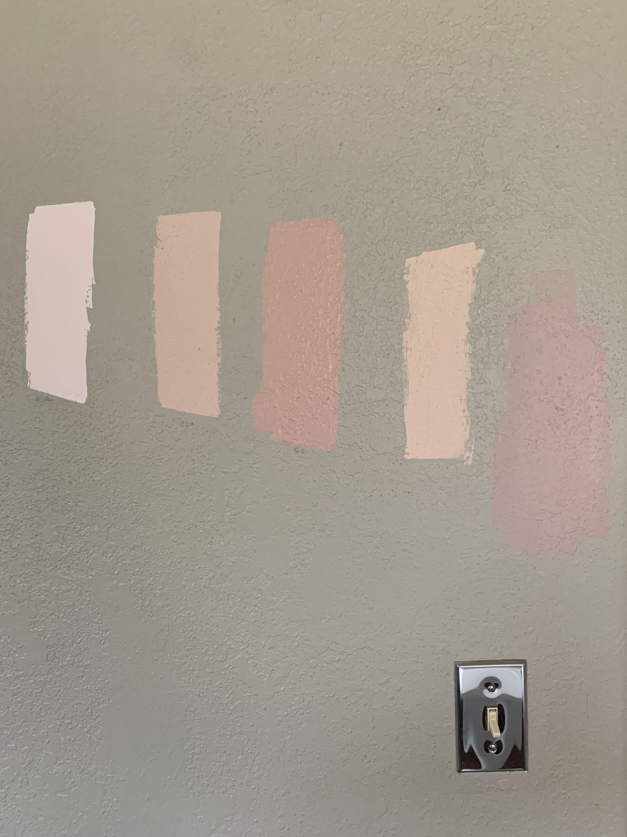 """Our paint swatches - """"Cashmere Wrap"""" is second from the left."""