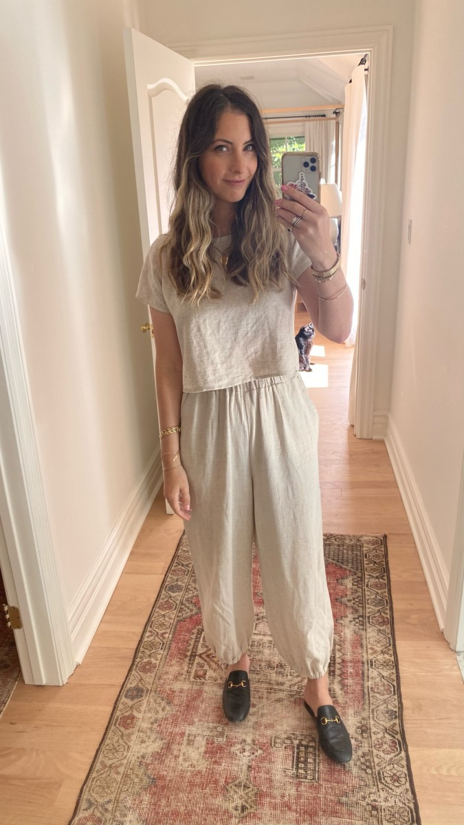 Rachel Pally Linen Top and Pants, Gucci Loafters