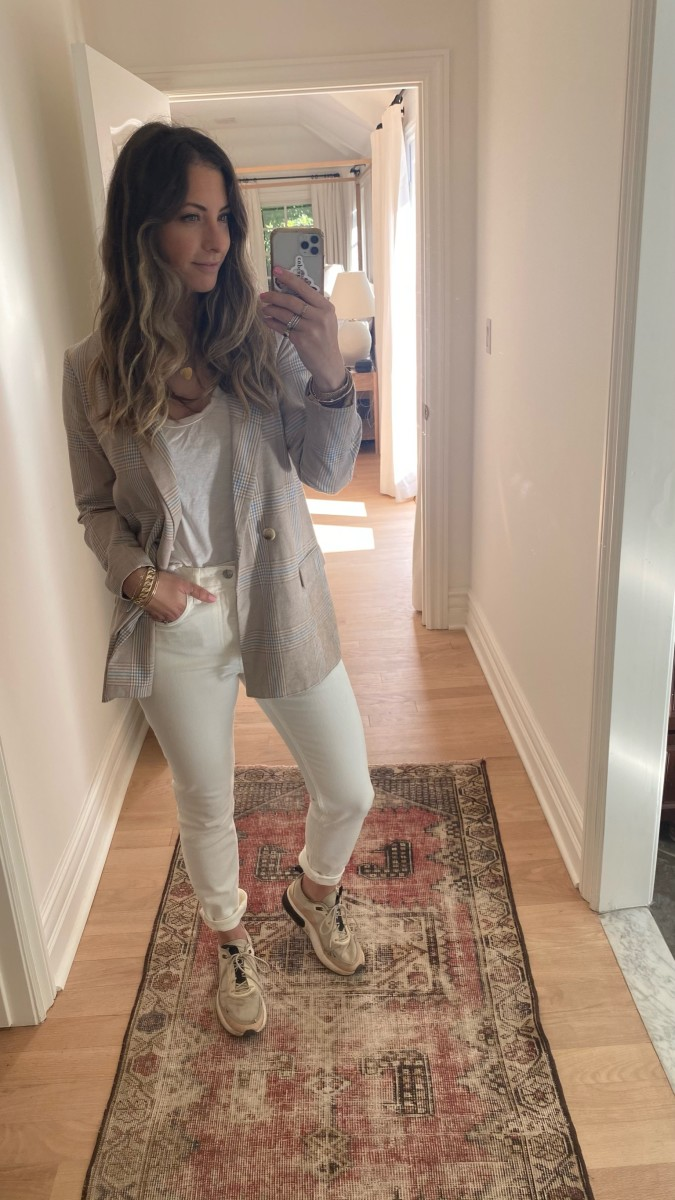 East Order Blazer (similar here), James Perse Tee, Everlane Jeans, Nike Shoes