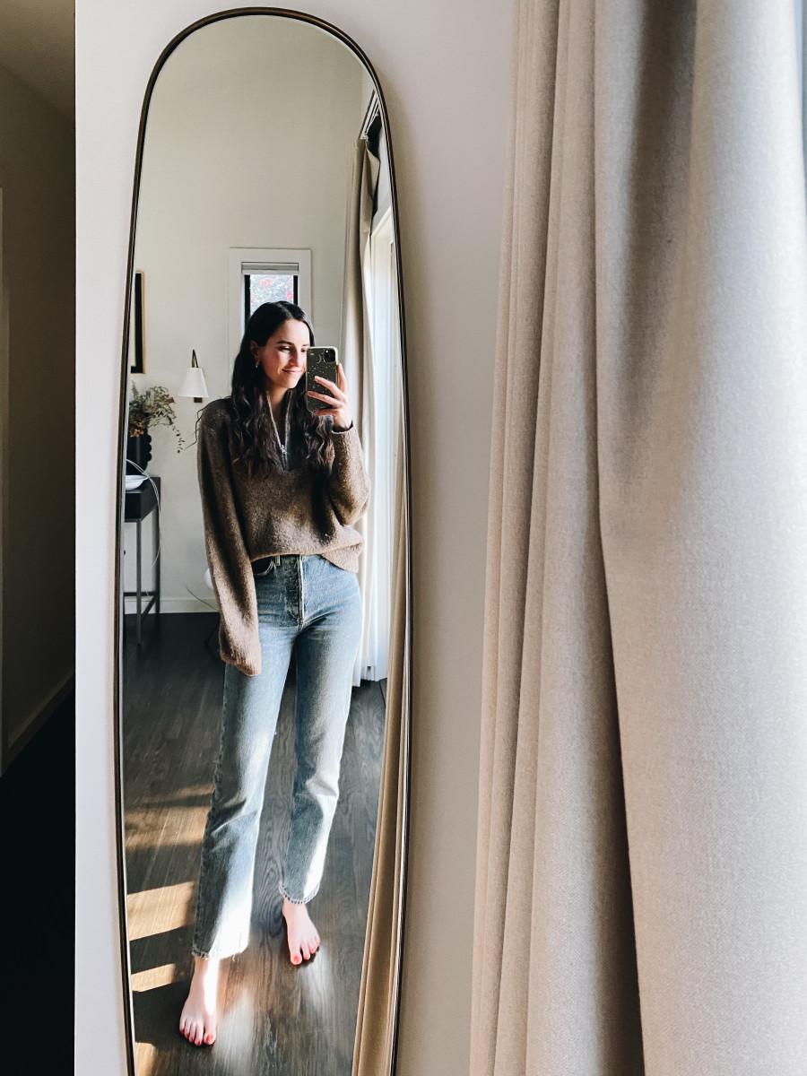 Jenni Kayne quarter zip, AGOLDE jeans