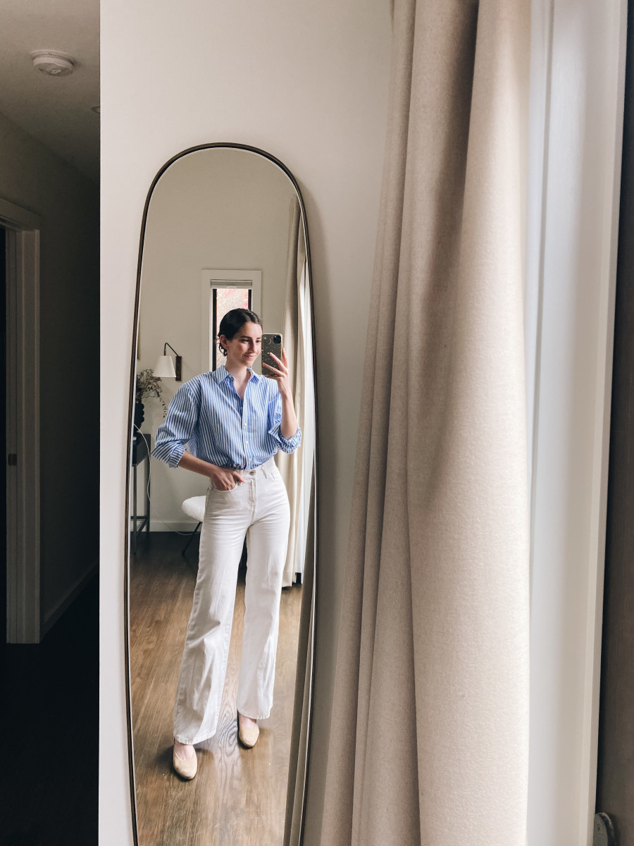 Reformation button down, ABLE jeans (similar here), Mari Giudicelli slides (similar here)