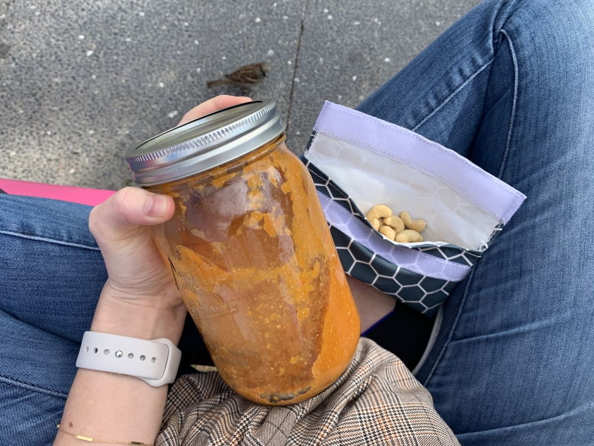 11:30 AM Large Mason jar Goop Summer Detox Soup + 1/2 cup cashews
