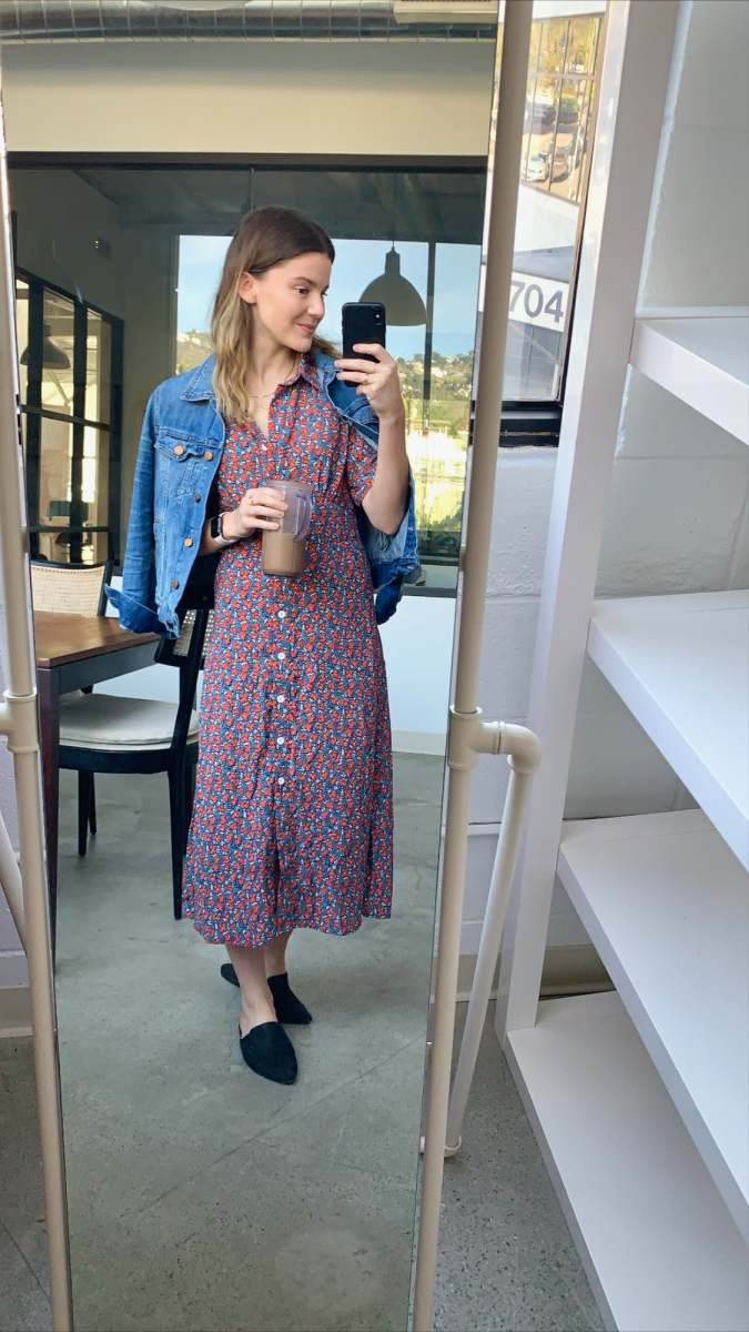 Madewell Denim Jacket, En Saison Dress, Jenni Kayne Slides (similar here), Apple Watch, Magic Bullet Smoothie Cup