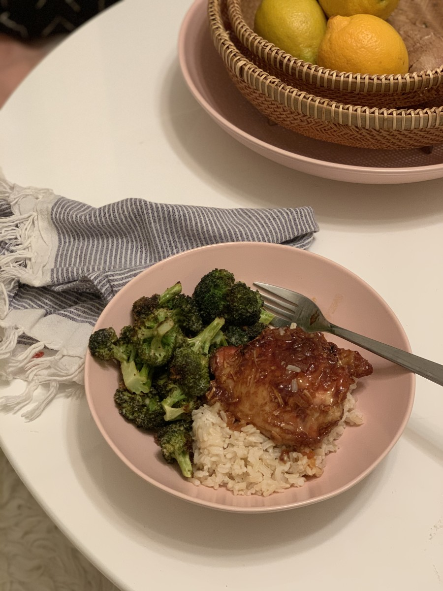 "5:30 PM Some of my favorite comfort food! The ""Best Worst Chicken,"" brown rice, and Tahini roasted broccoli"