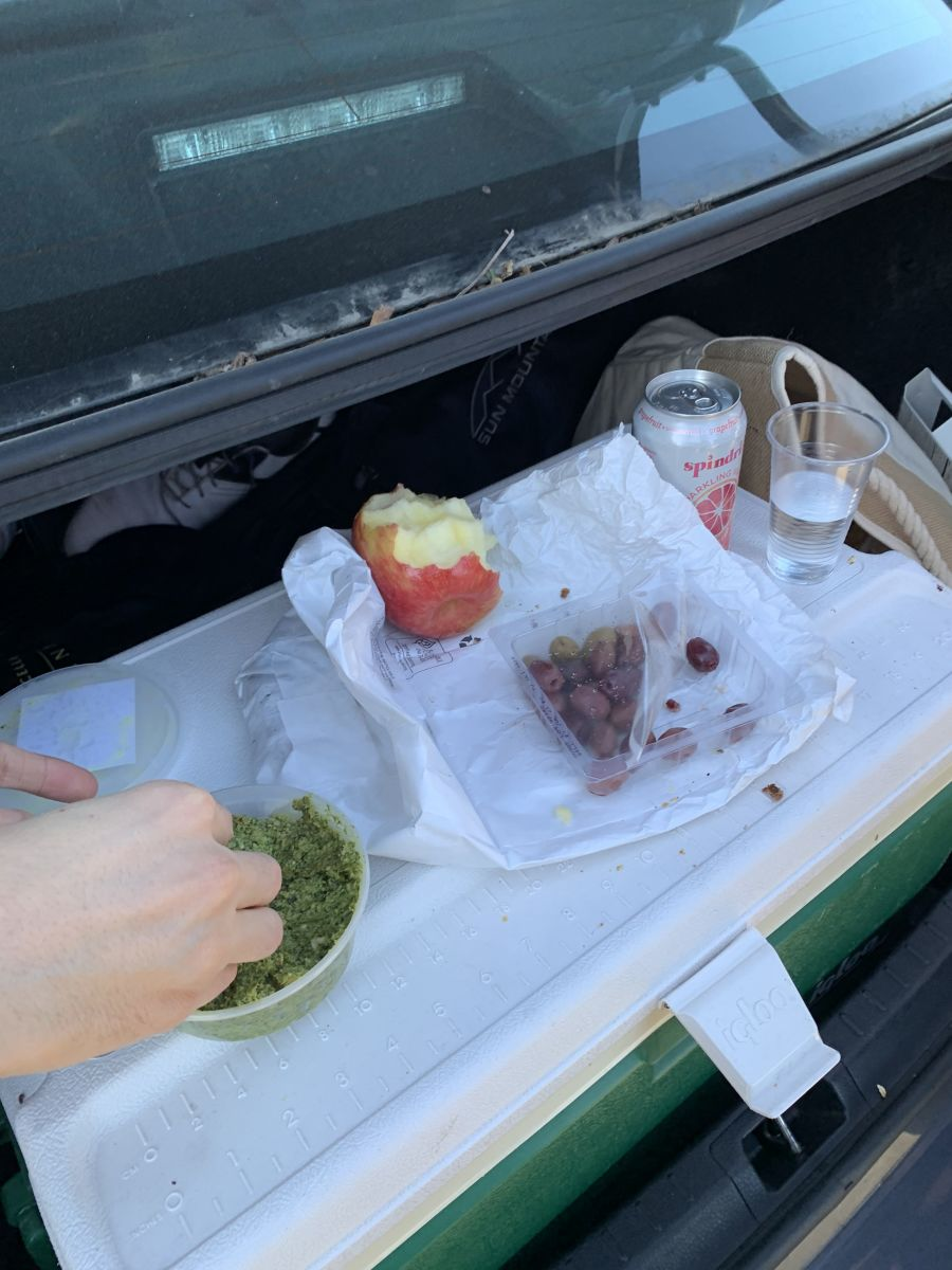 2 PM Car picnic in Morro Bar with friends, a ton of bread, cheese, pesto, olives, and fruit!