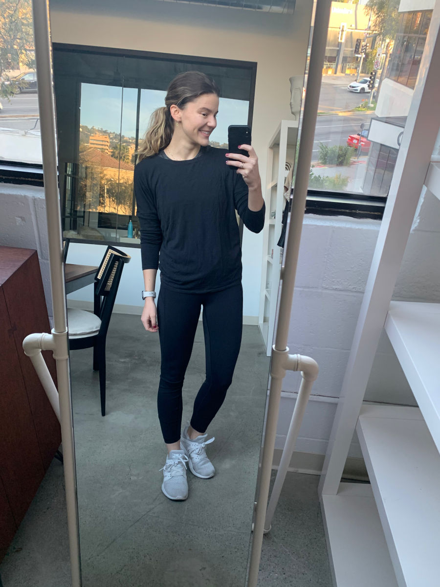 """My """"Outfit of the Morning"""" with Lululemon Leggings, ALC Sneakers"""