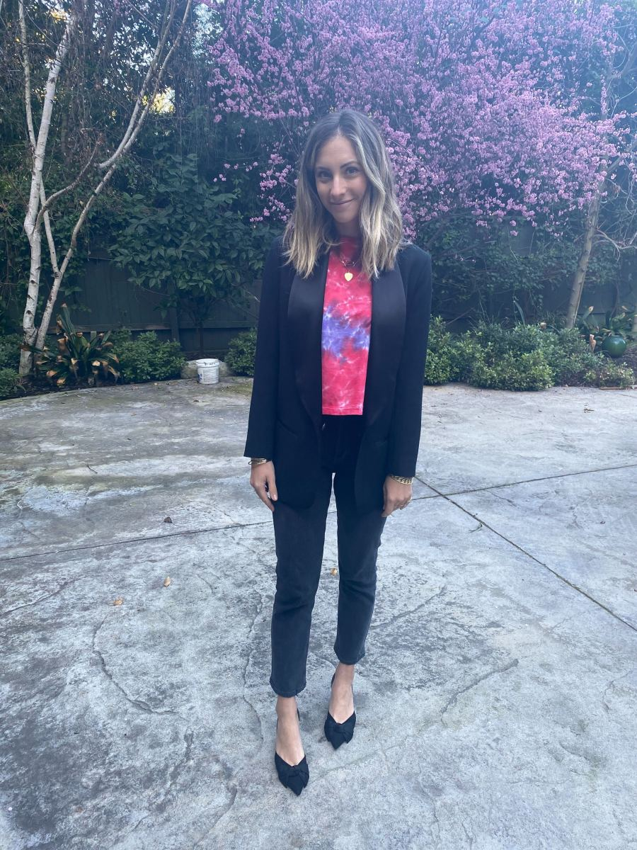 Friday: Isabel Marant x H&M Blazer, Daydream Tie-Dye Tee, AGOLDE Jeans, Zara Shoes