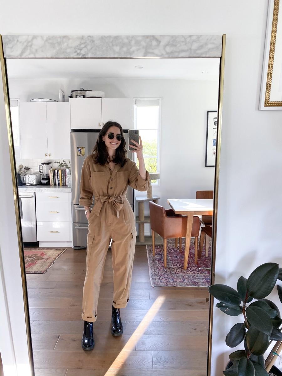 H&M Jumpsuit, Prada Boots (similar here), Garrett Leight Sunglasses