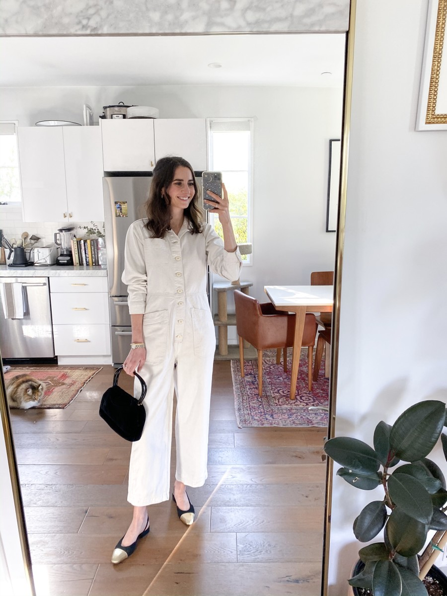 Free People Jumpsuit, Vintage Purse (similar here), Chanel Flats (similar here), Cat is One of a Kind :)