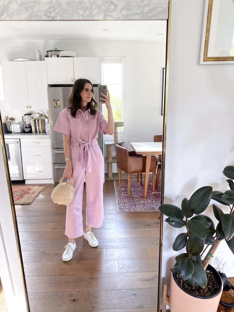 GAP Jumpsuit(now on sale!), Common Projects Sneakers, Cult Gaia Purse (similar here)