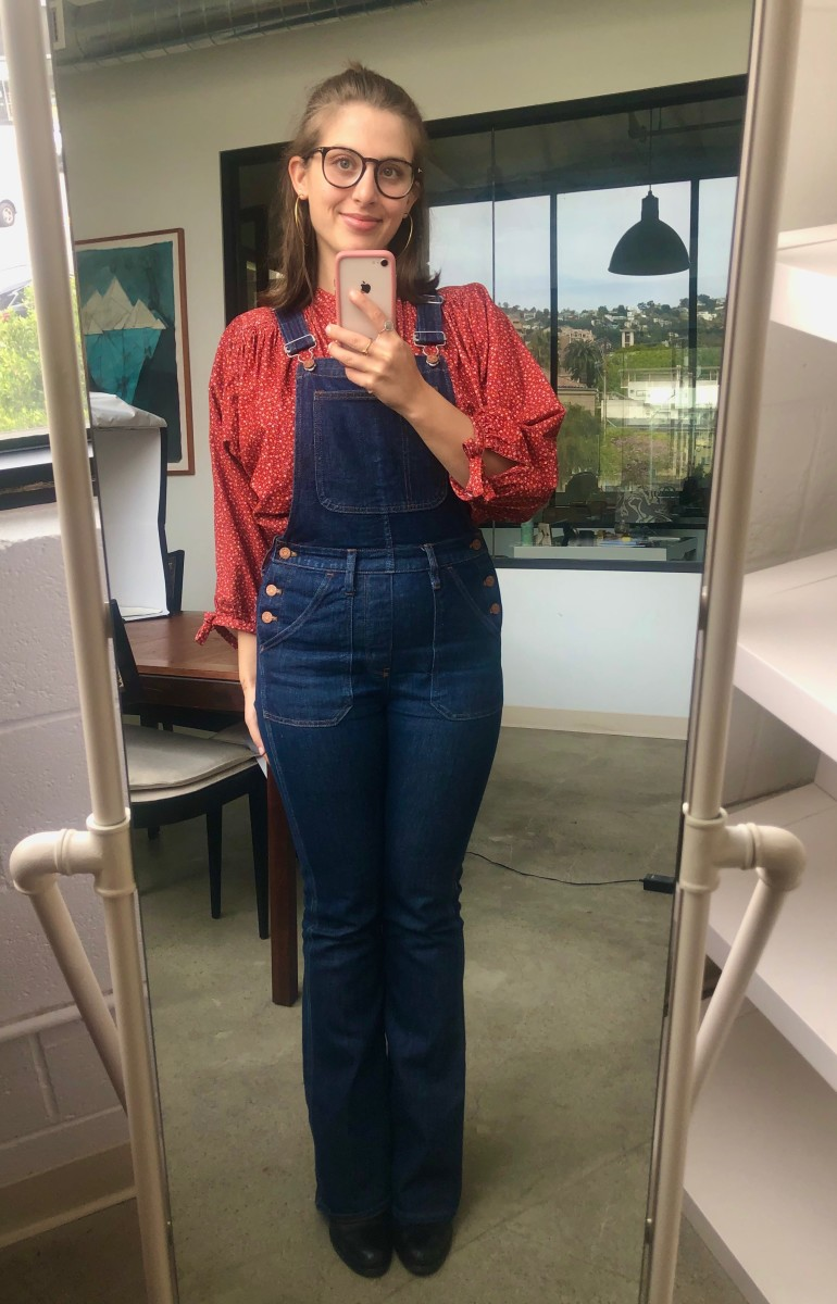 Friday (Natalie, our Editorial Intern): Doen Top, Madewell Overalls (similar here), AllSaints Boots (similar here)