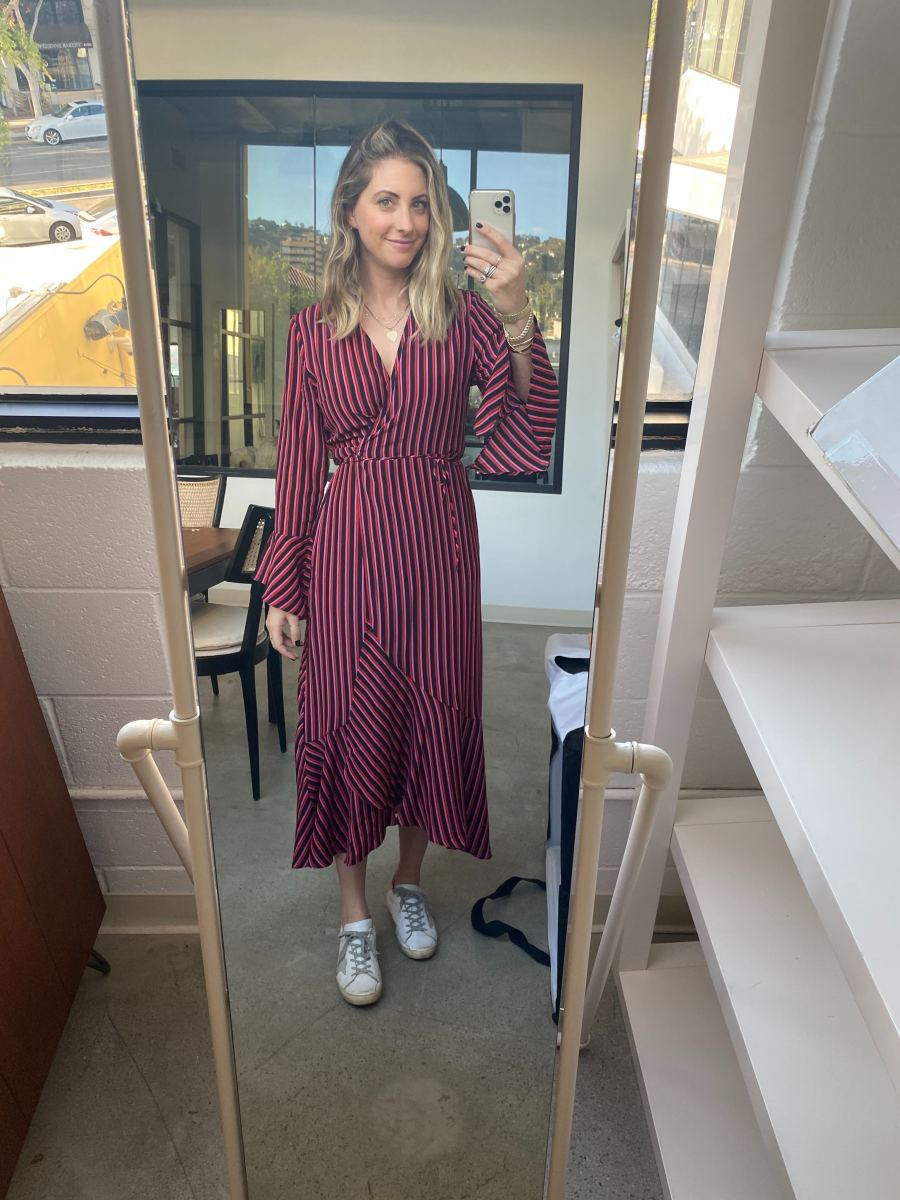 Monday: Rixo Dress, Golden Goose Sneakers (affordable version here)