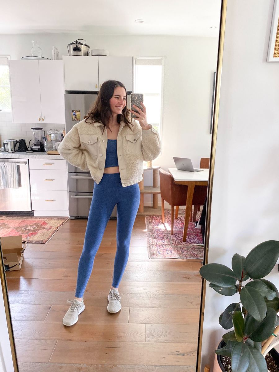 Tuesday: Beyond Yoga Leggings and Top, Zara Jacket (similar here), Nike x APC Sneakers (similar, and on sale, here)