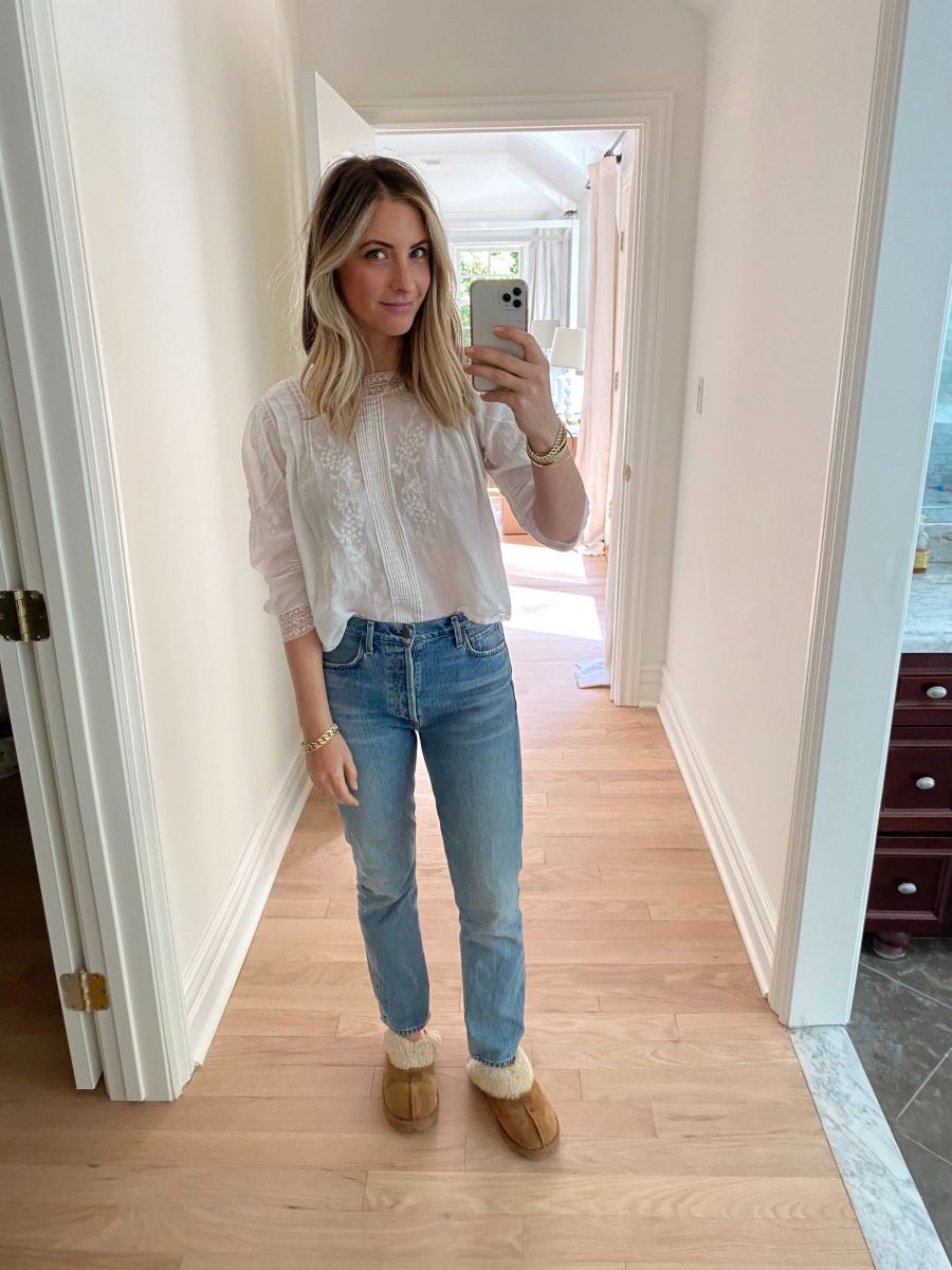 Monday: Doen Top (similar here), Vintage Levi's Jeans (similar here), Ugg Slippers
