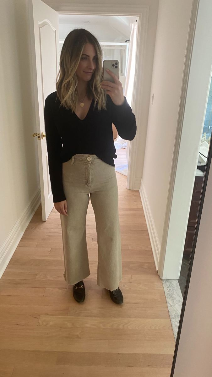 Wednesday:Theory Sweater, Zara Pants, Gucci Loafers (affordable version here)