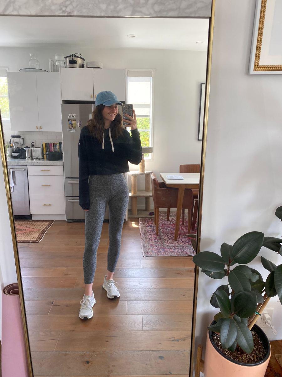 Friday: Adidas by Stella McCartney sneakers, Beyond Yoga leggings, Alo Yoga sweatshirt (similar here), Newhattan baseball cap
